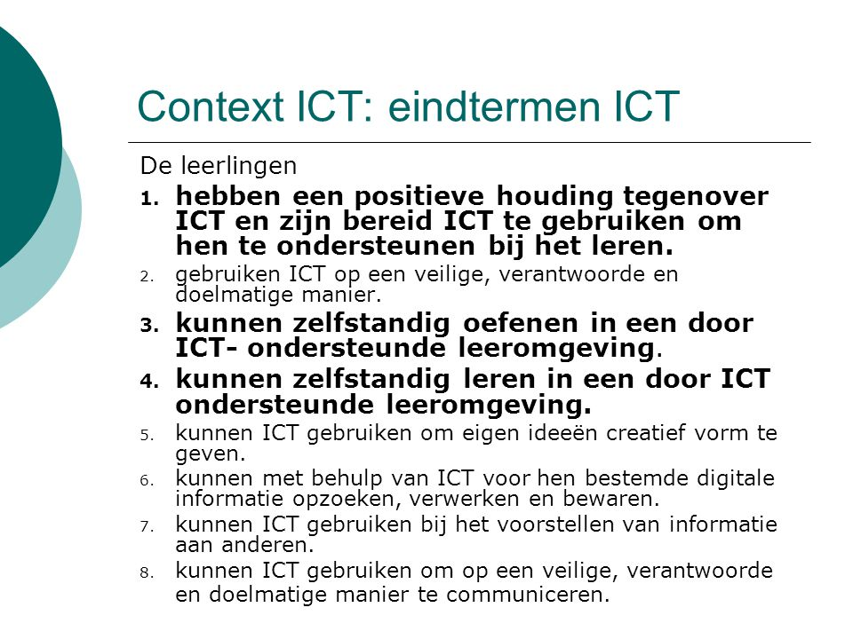 Context ICT: eindtermen ICT