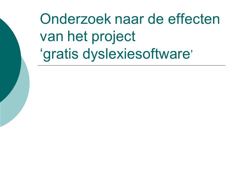 Onderzoek naar de effecten van het project 'gratis dyslexiesoftware'