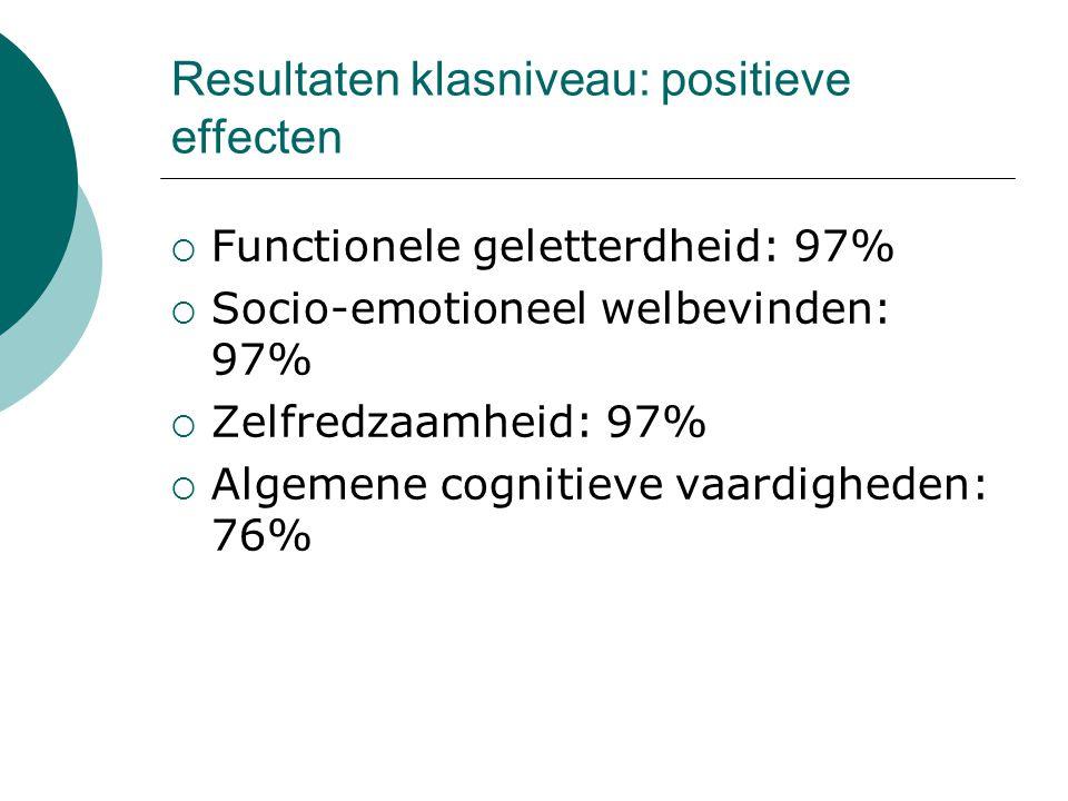 Resultaten klasniveau: positieve effecten