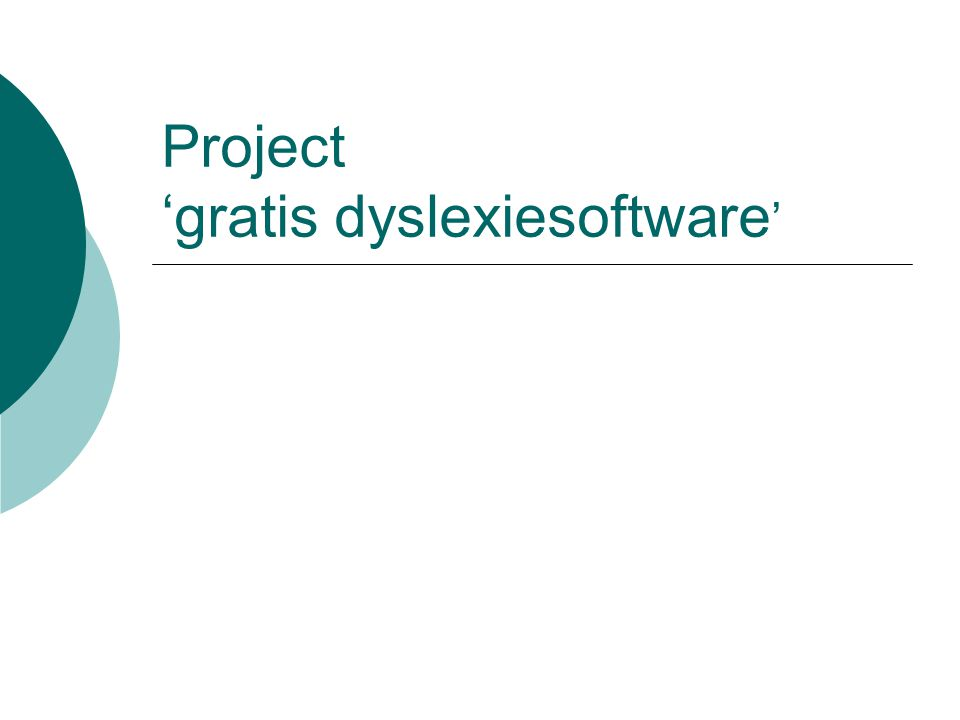Project 'gratis dyslexiesoftware'