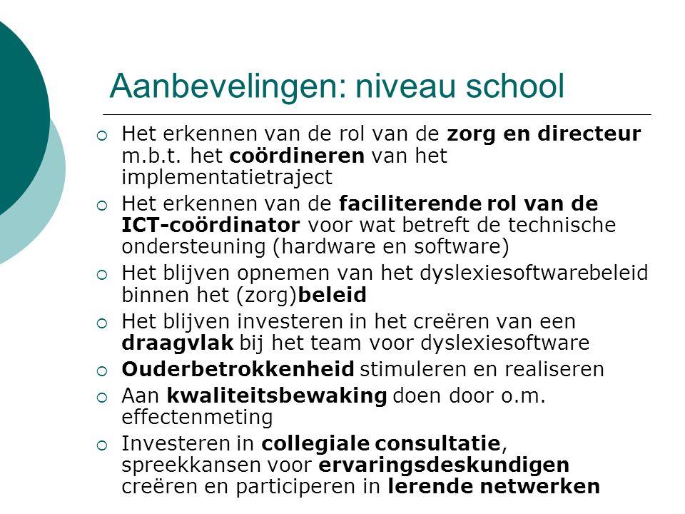 Aanbevelingen: niveau school
