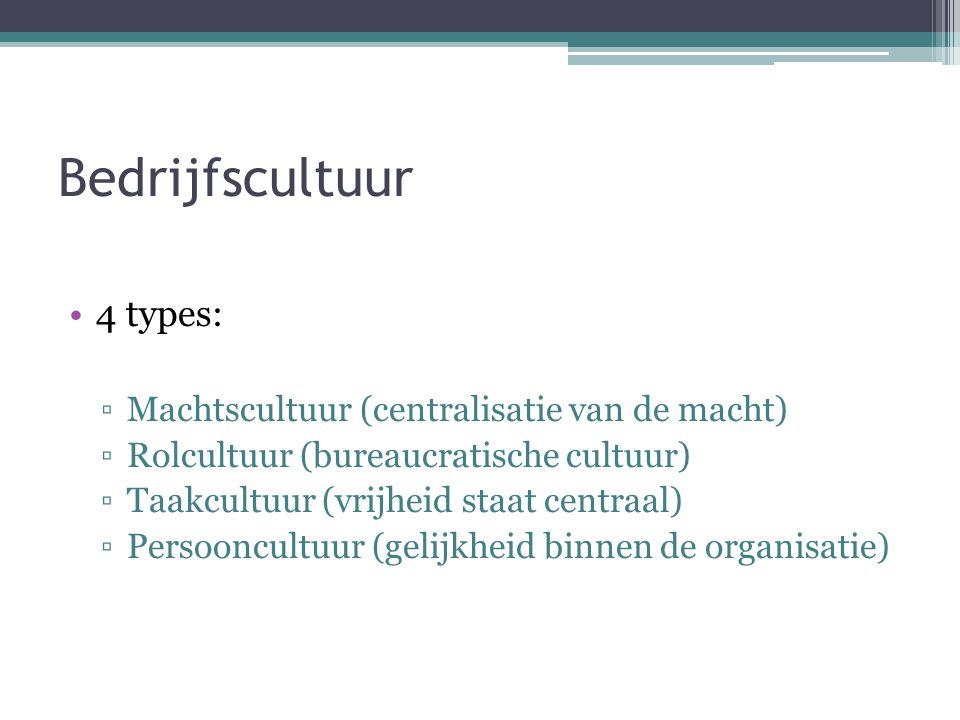 Bedrijfscultuur 4 types: Machtscultuur (centralisatie van de macht)