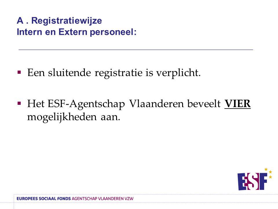 A . Registratiewijze Intern en Extern personeel: