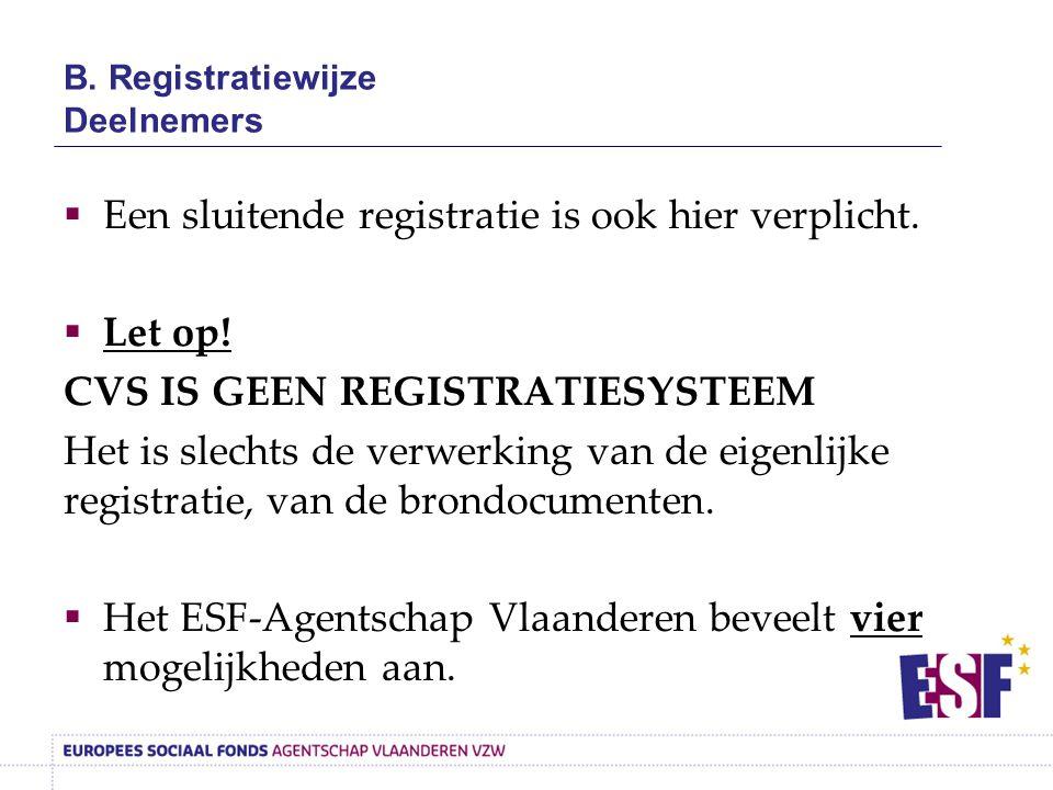 B. Registratiewijze Deelnemers