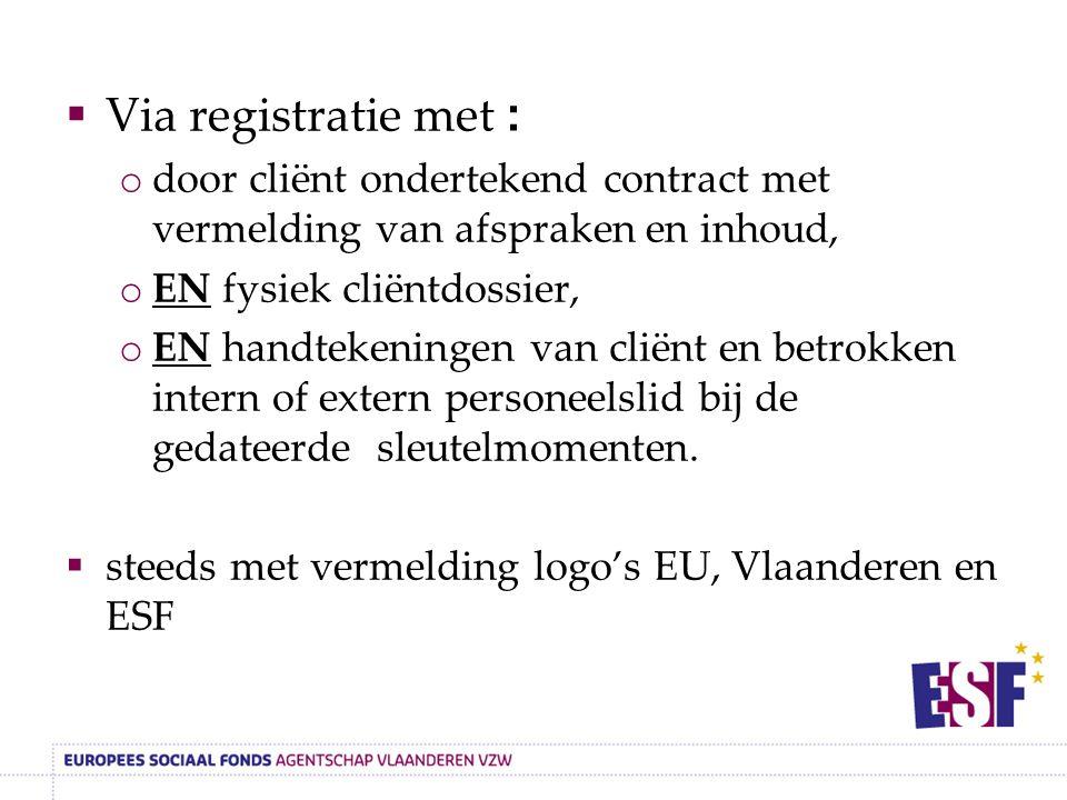 Via registratie met : door cliënt ondertekend contract met vermelding van afspraken en inhoud, EN fysiek cliëntdossier,