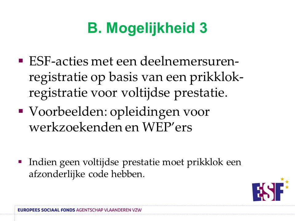 B. Mogelijkheid 3 ESF-acties met een deelnemersuren-registratie op basis van een prikklok-registratie voor voltijdse prestatie.