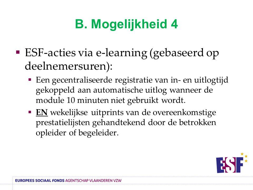 B. Mogelijkheid 4 ESF-acties via e-learning (gebaseerd op deelnemersuren):