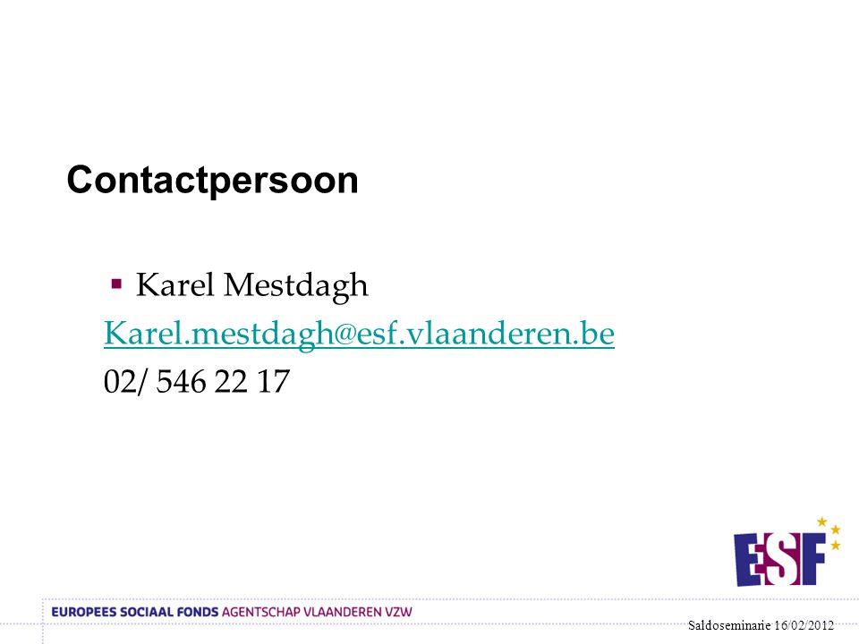 Contactpersoon Karel Mestdagh Karel.mestdagh@esf.vlaanderen.be