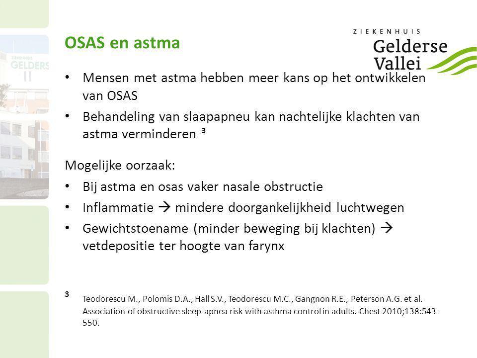 OSAS en astma Mensen met astma hebben meer kans op het ontwikkelen van OSAS.