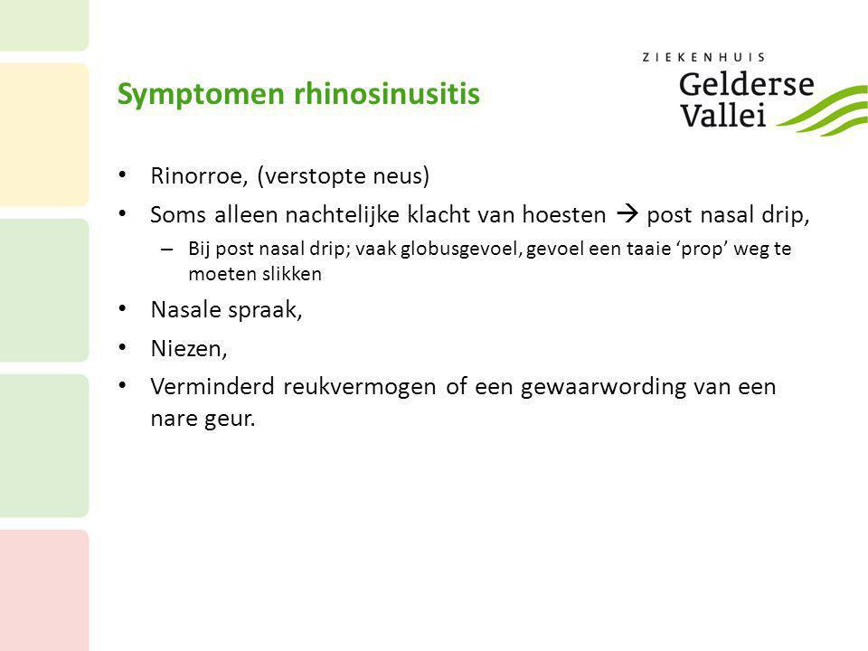 Symptomen rhinosinusitis