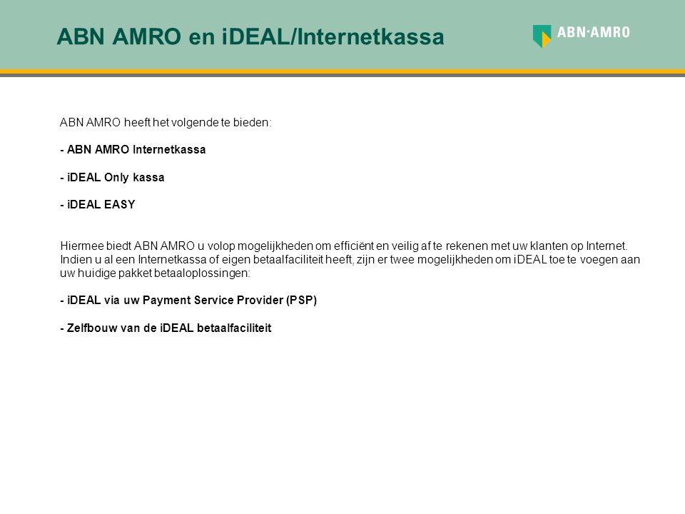 ABN AMRO en iDEAL/Internetkassa
