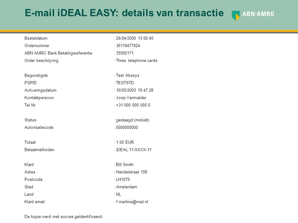 E-mail iDEAL EASY: details van transactie