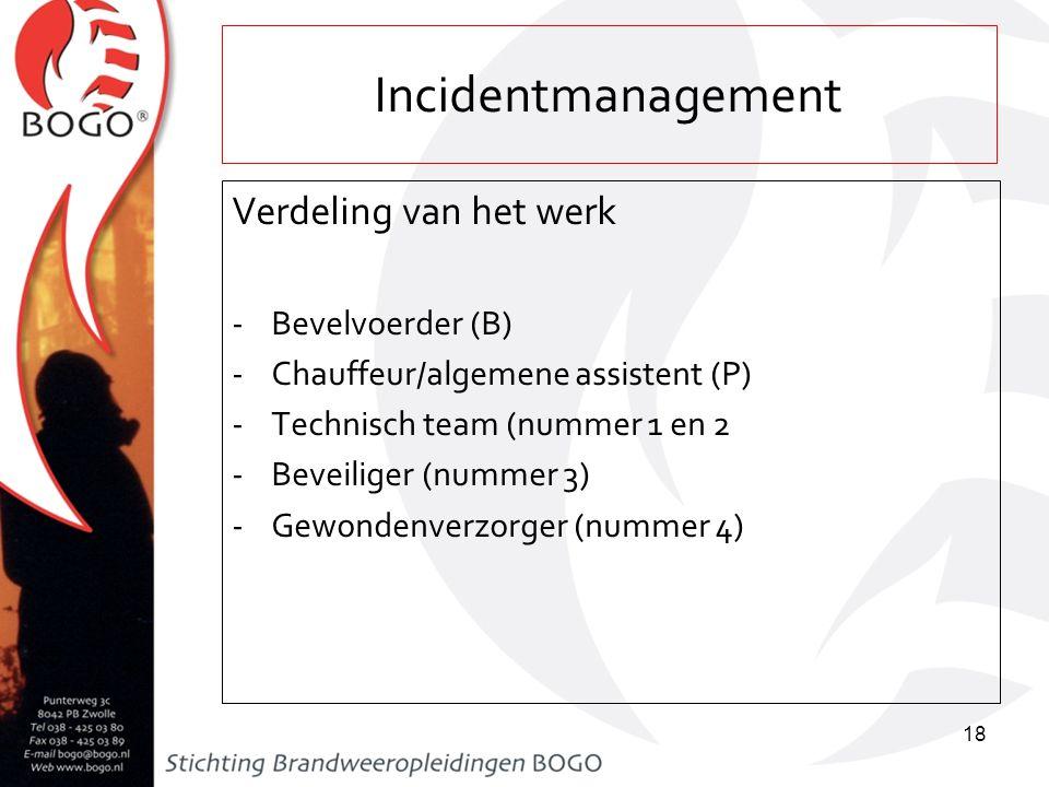 Incidentmanagement Verdeling van het werk Bevelvoerder (B)
