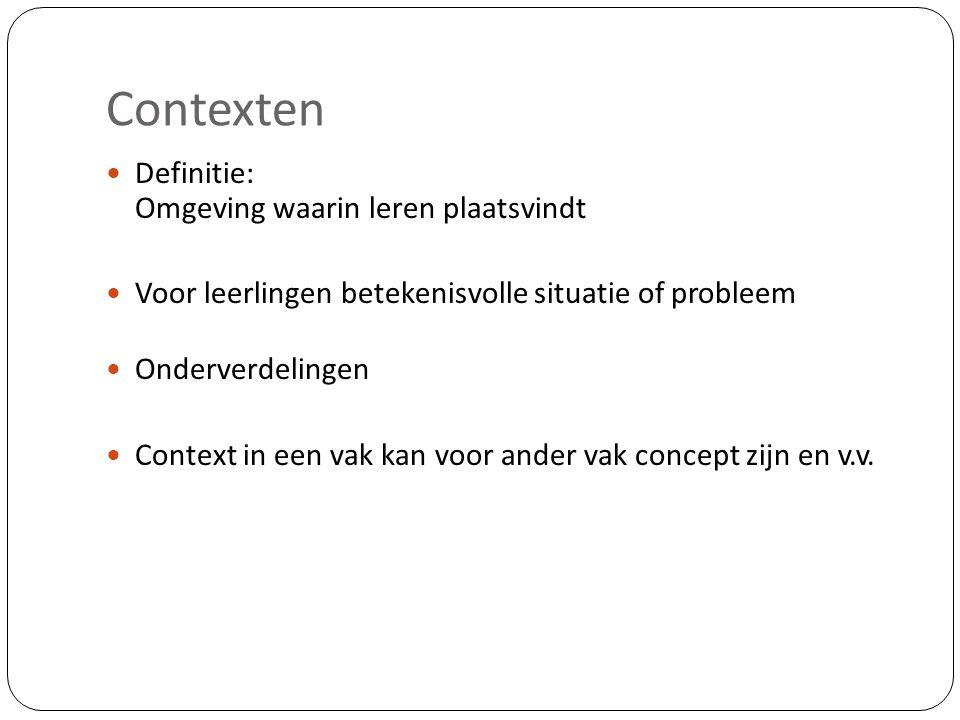 Contexten Definitie: Omgeving waarin leren plaatsvindt