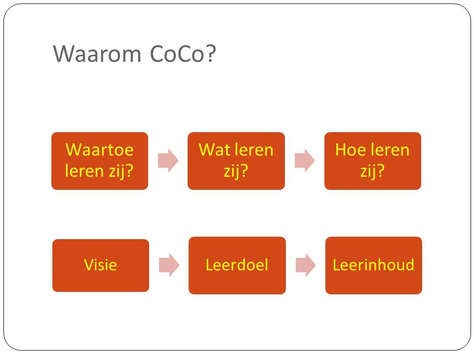 Waarom CoCo Waartoe leren zij Wat leren zij Hoe leren zij Visie