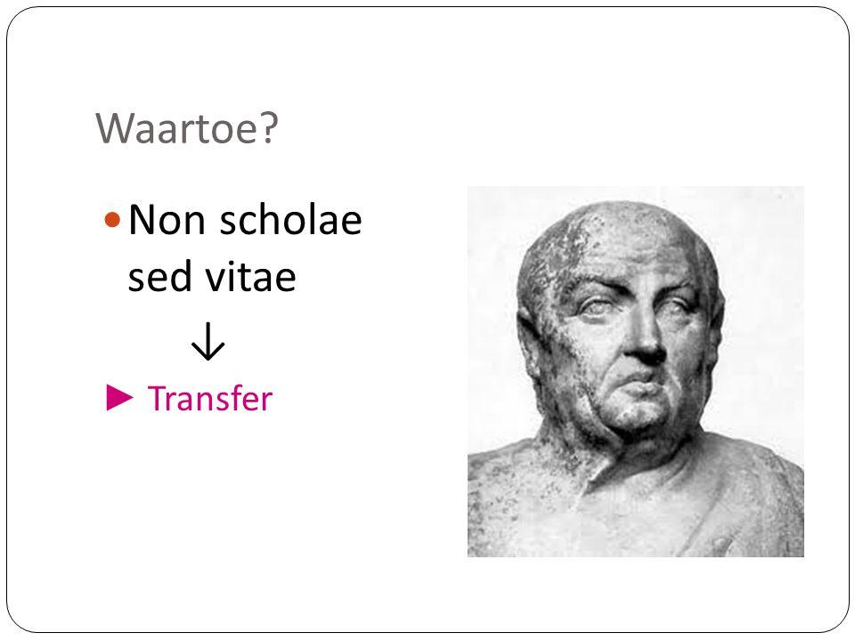 Waartoe Non scholae sed vitae ↓ ► Transfer