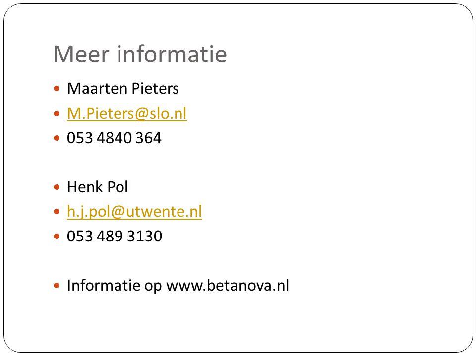 Meer informatie Maarten Pieters M.Pieters@slo.nl 053 4840 364 Henk Pol