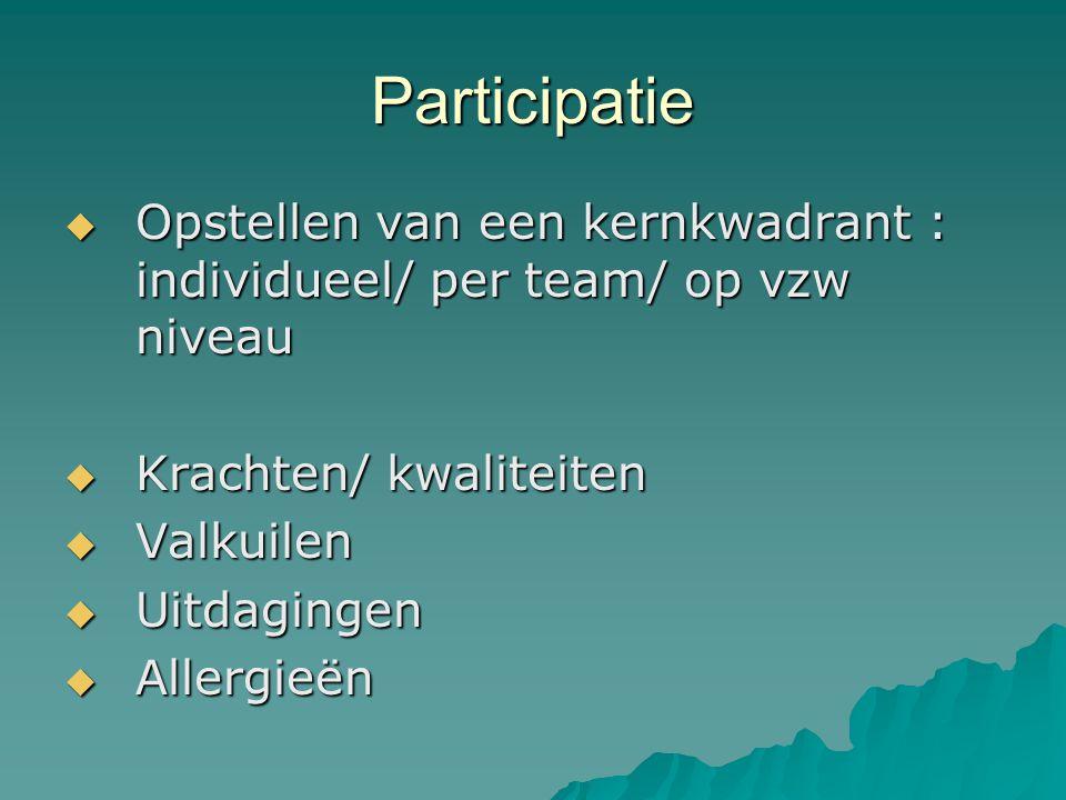 Participatie Opstellen van een kernkwadrant : individueel/ per team/ op vzw niveau. Krachten/ kwaliteiten.
