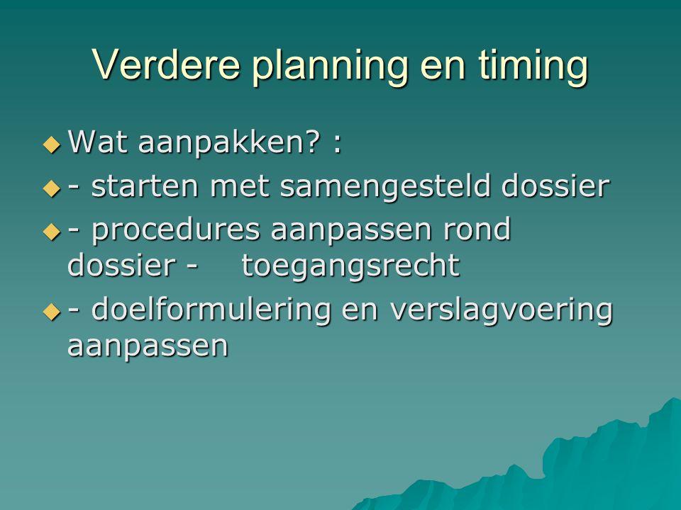Verdere planning en timing