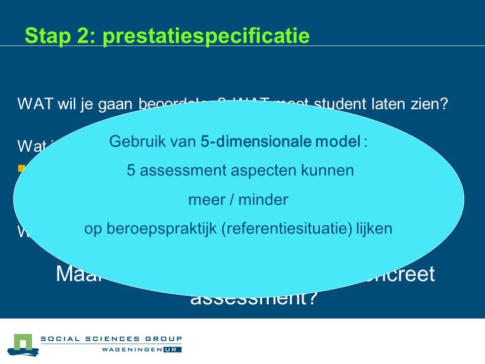 Stap 2: prestatiespecificatie