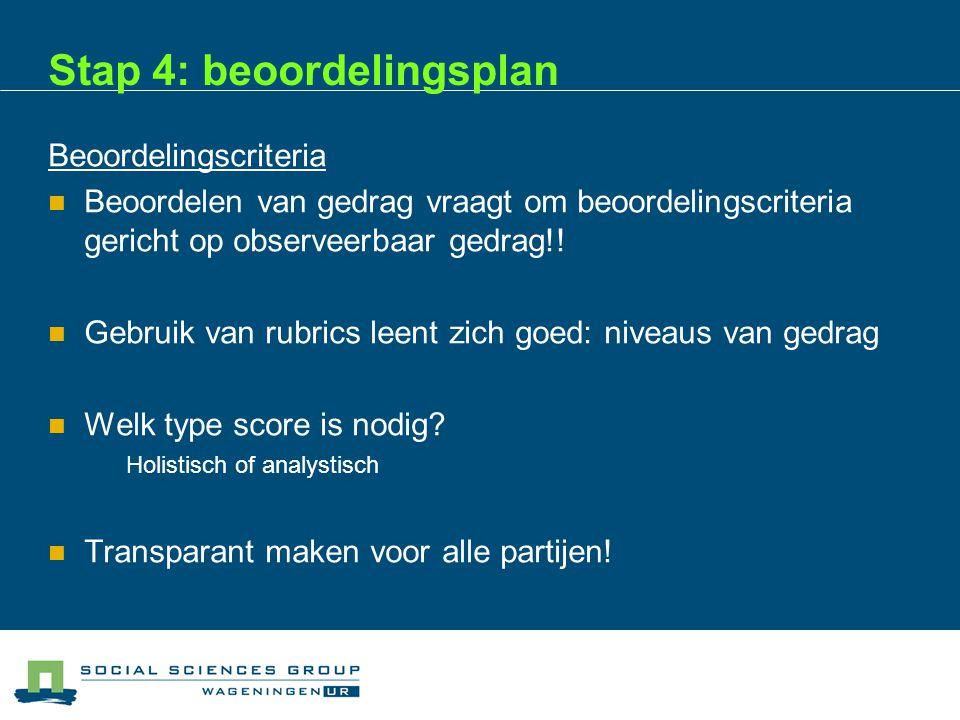 Stap 4: beoordelingsplan