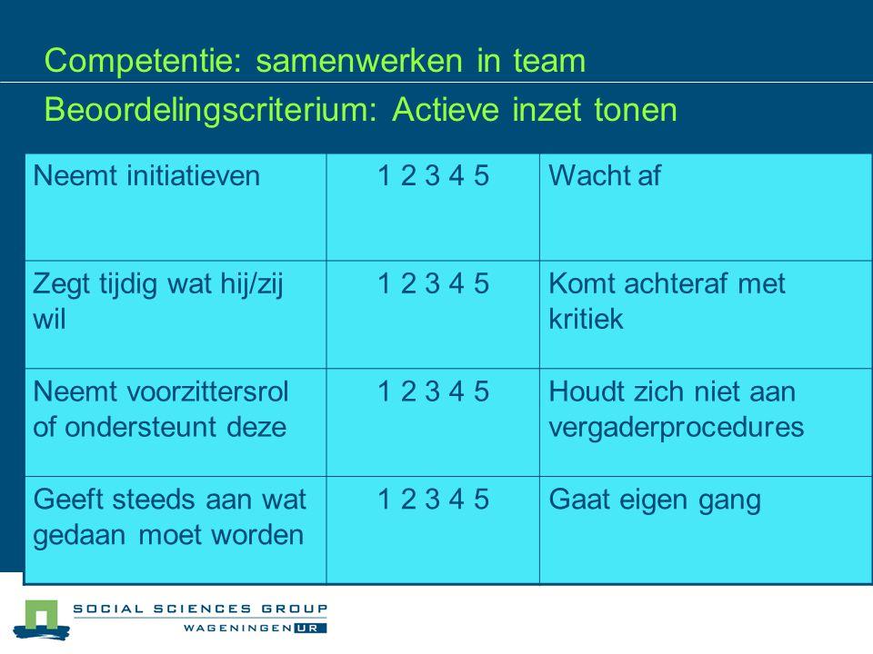 Competentie: samenwerken in team Beoordelingscriterium: Actieve inzet tonen