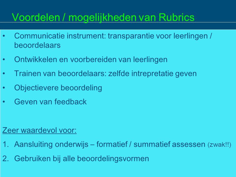 Voordelen / mogelijkheden van Rubrics
