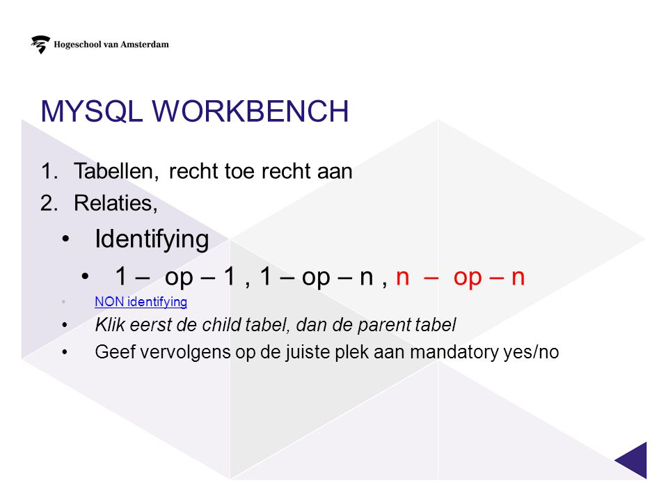 MySQl workbench Identifying 1 – op – 1 , 1 – op – n , n – op – n