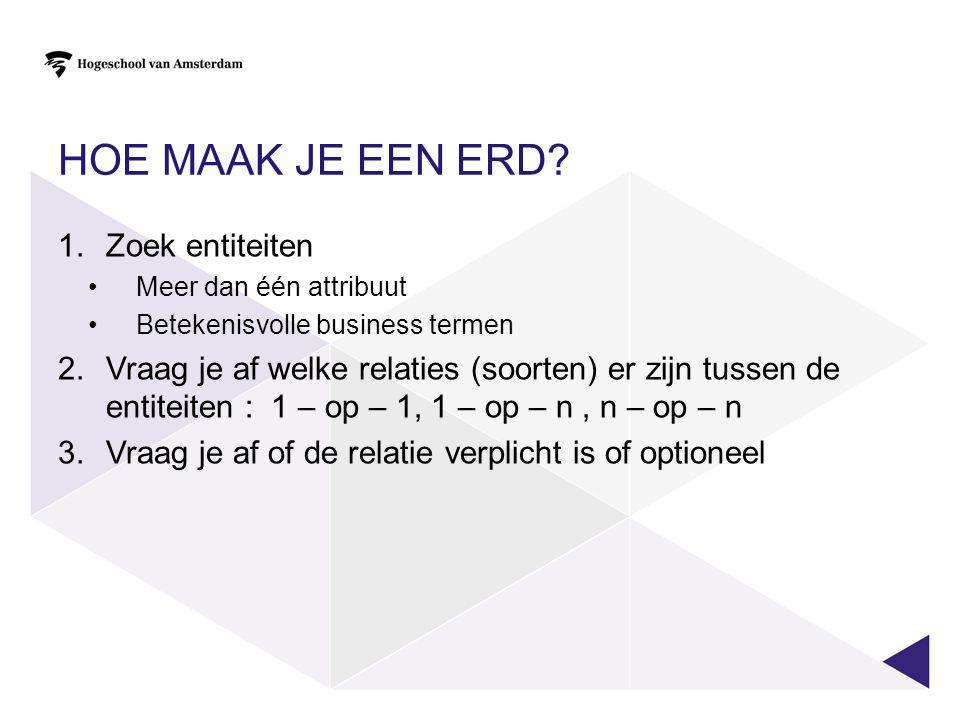 Hoe maak je een ERD Zoek entiteiten