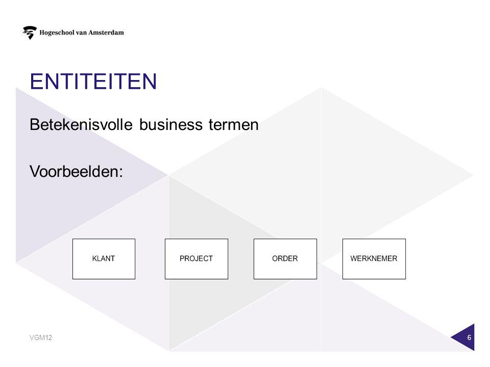 Entiteiten Betekenisvolle business termen Voorbeelden:
