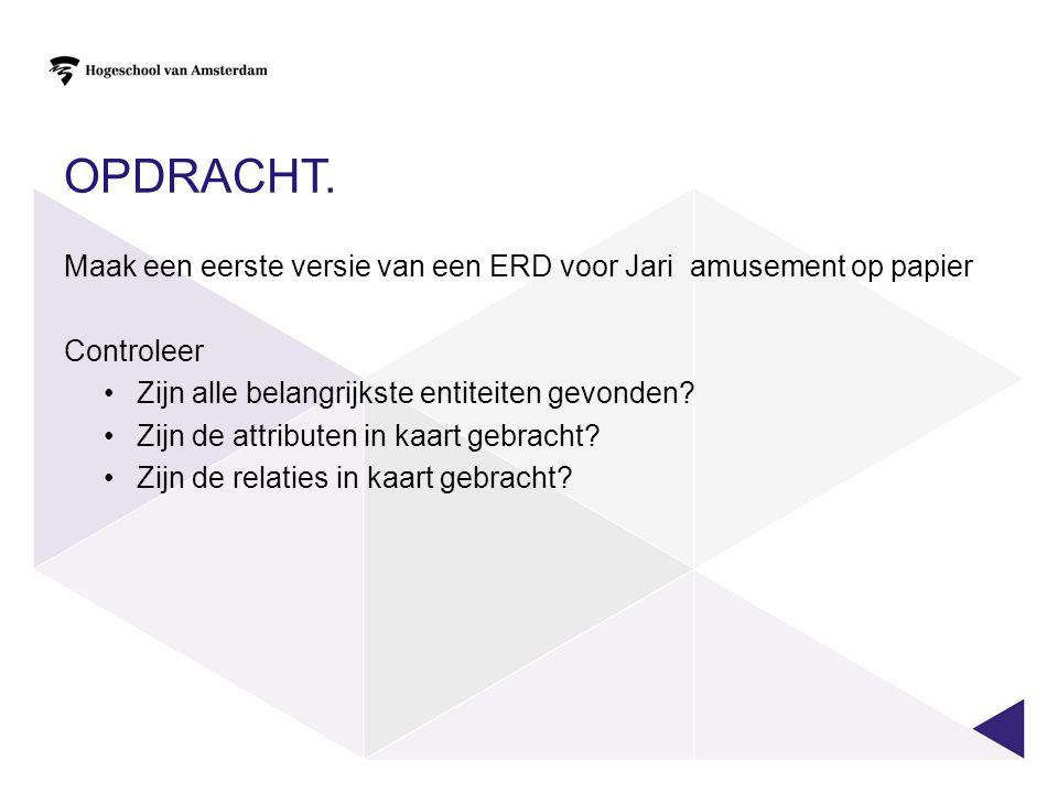 Opdracht. Maak een eerste versie van een ERD voor Jari amusement op papier. Controleer. Zijn alle belangrijkste entiteiten gevonden