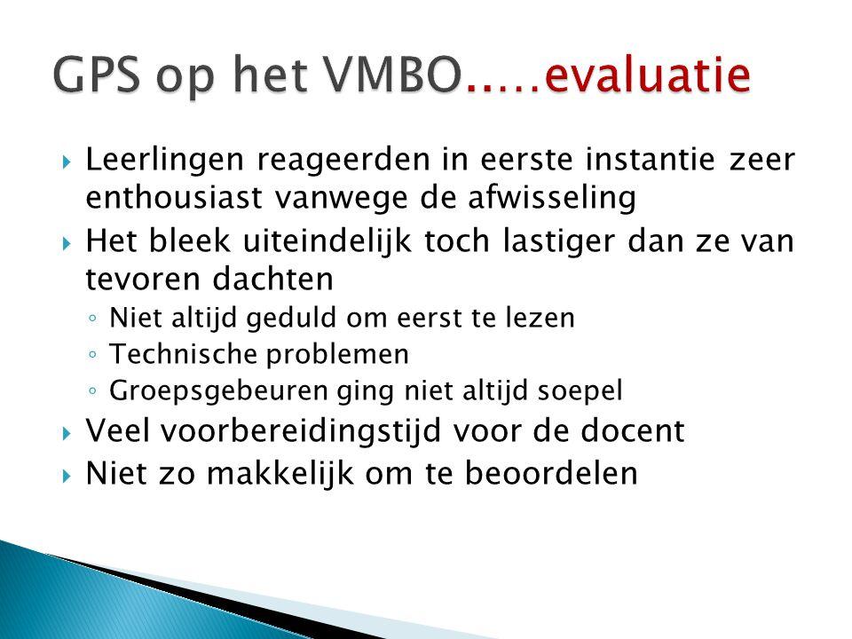 GPS op het VMBO..…evaluatie