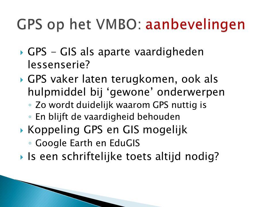 GPS op het VMBO: aanbevelingen