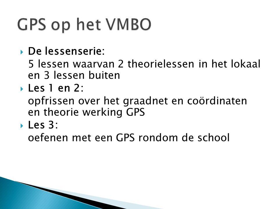 GPS op het VMBO De lessenserie: