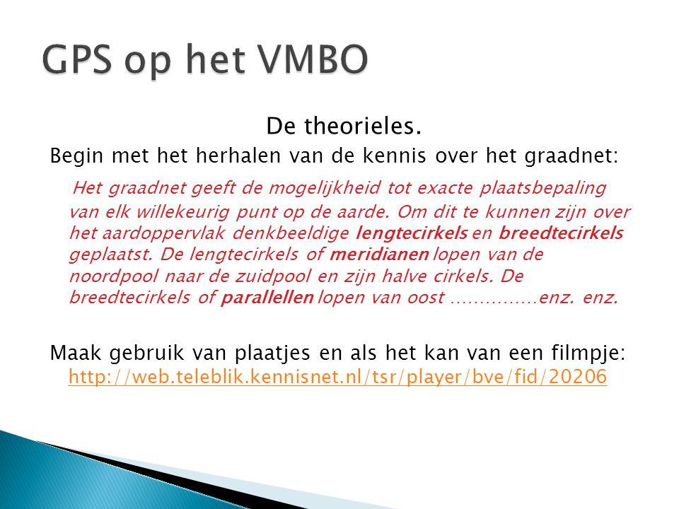 GPS op het VMBO De theorieles.