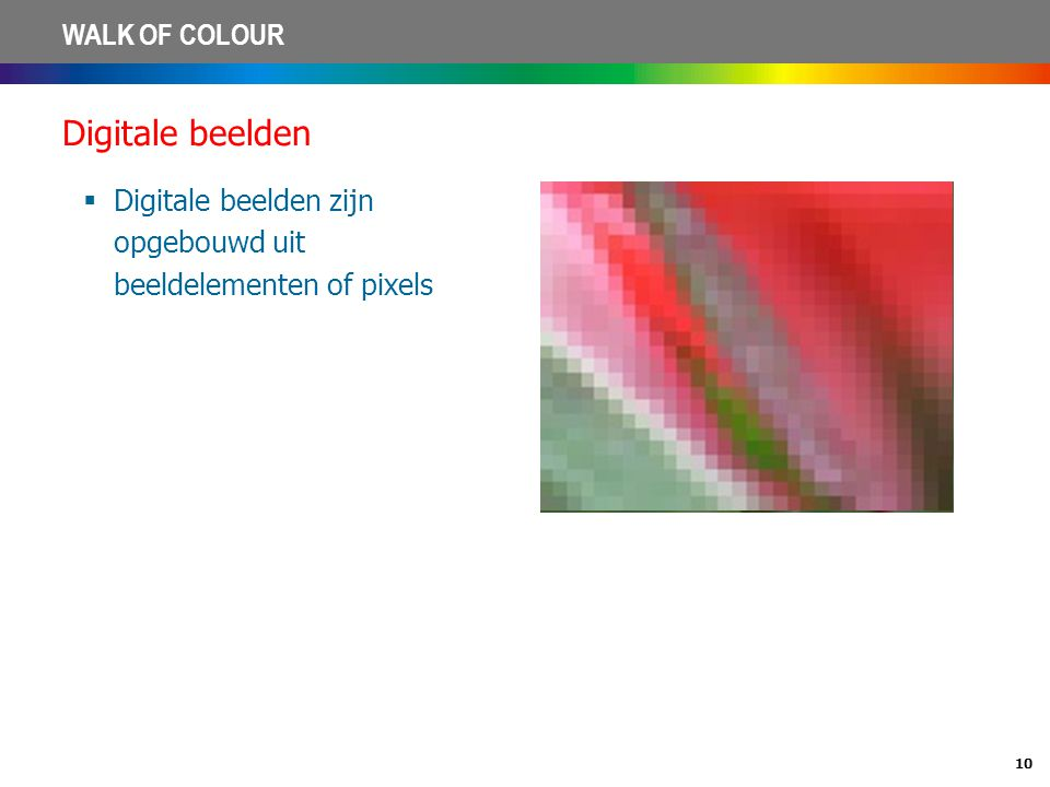 Digitale beelden Digitale beelden zijn opgebouwd uit beeldelementen of pixels