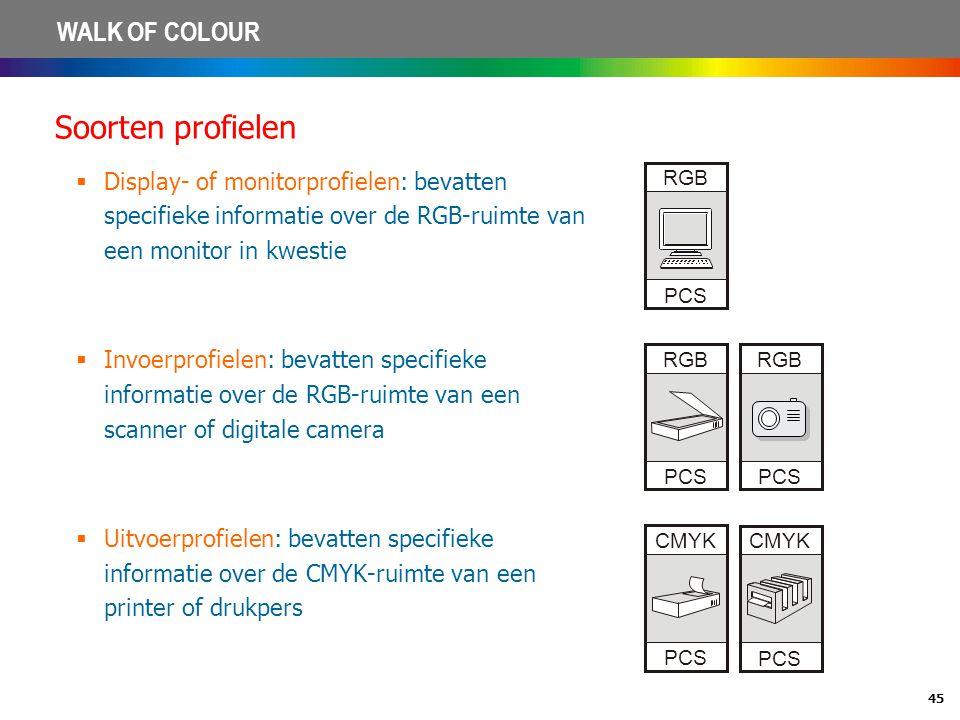 Soorten profielen Display- of monitorprofielen: bevatten specifieke informatie over de RGB-ruimte van een monitor in kwestie.