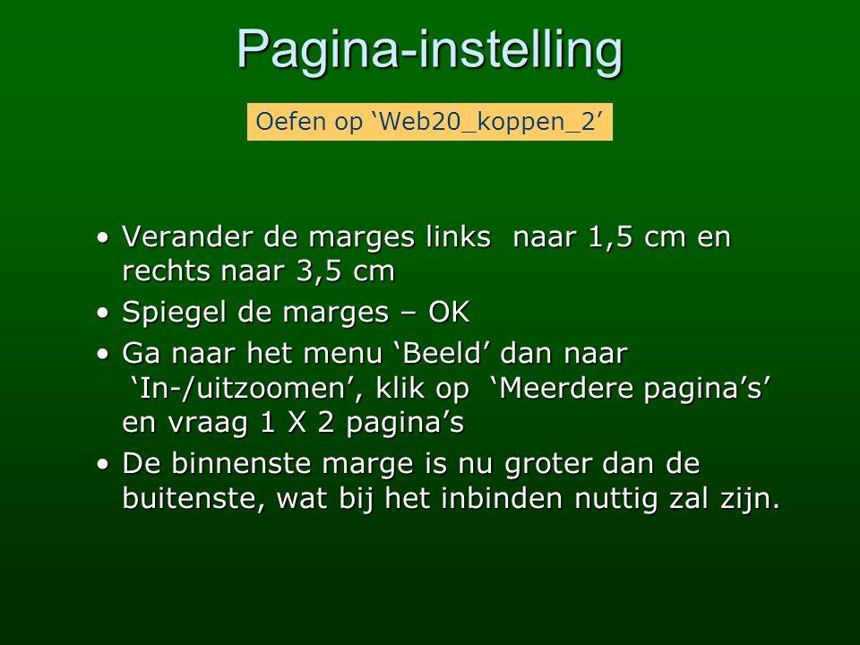 Pagina-instelling Oefen op 'Web20_koppen_2' Verander de marges links naar 1,5 cm en rechts naar 3,5 cm.