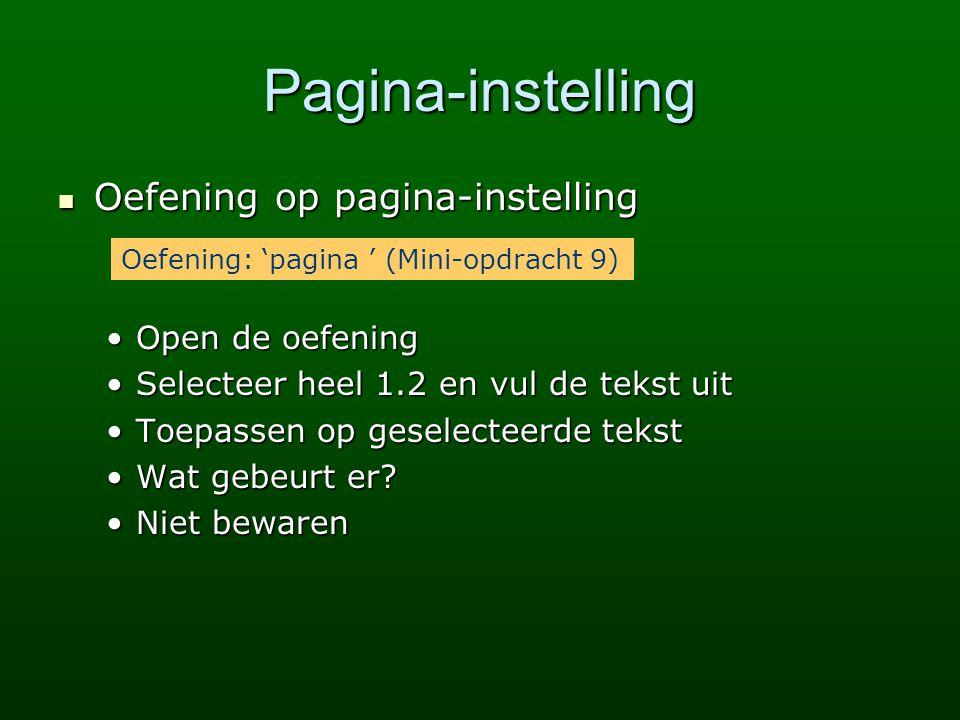 Pagina-instelling Oefening op pagina-instelling Open de oefening
