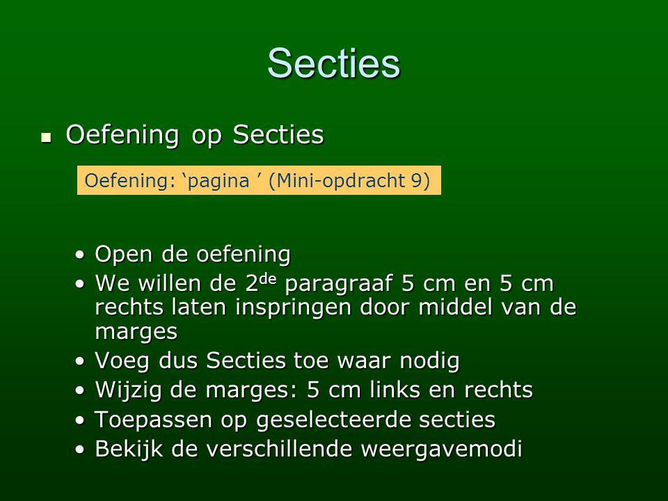 Secties Oefening op Secties Open de oefening