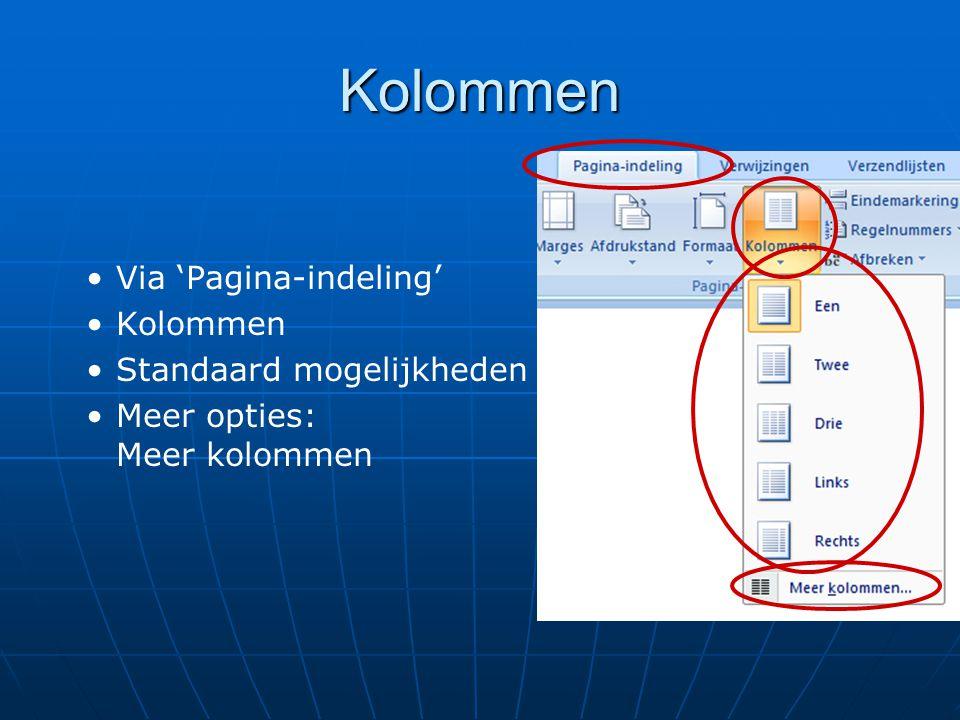 Kolommen Via 'Pagina-indeling' Kolommen Standaard mogelijkheden
