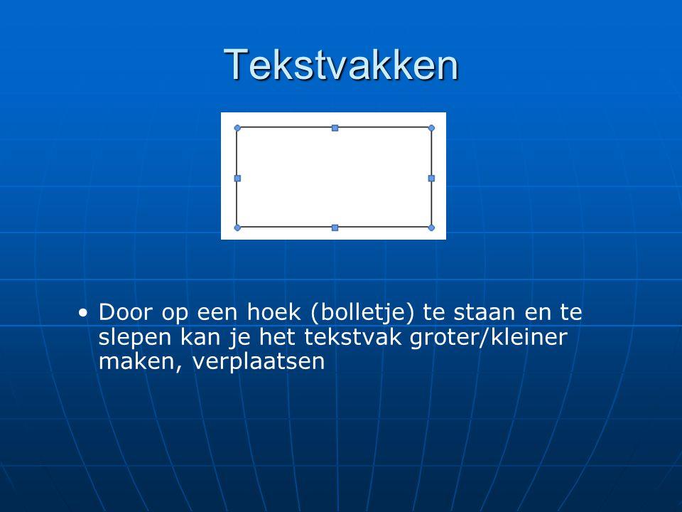 Tekstvakken Door op een hoek (bolletje) te staan en te slepen kan je het tekstvak groter/kleiner maken, verplaatsen.