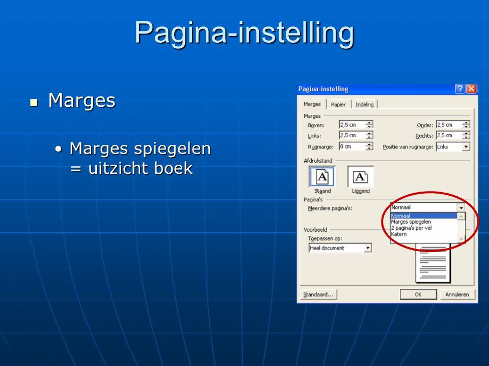 Pagina-instelling Marges Marges spiegelen = uitzicht boek