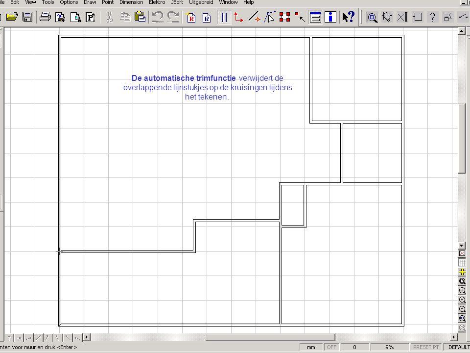 De automatische trimfunctie verwijdert de overlappende lijnstukjes op de kruisingen tijdens het tekenen.