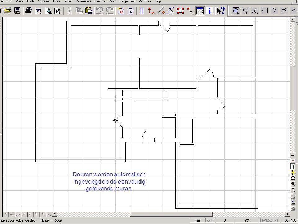 Deuren worden automatisch ingevoegd op de eenvoudig getekende muren.