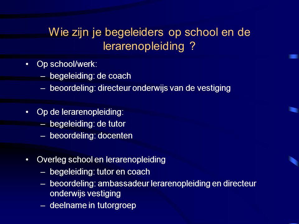 Wie zijn je begeleiders op school en de lerarenopleiding