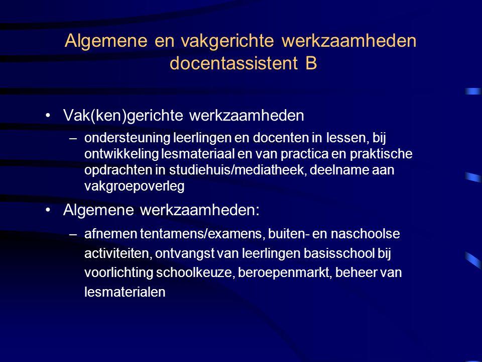 Algemene en vakgerichte werkzaamheden docentassistent B
