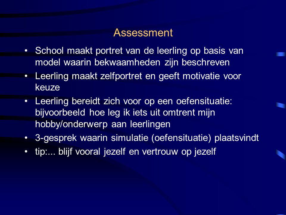 Assessment School maakt portret van de leerling op basis van model waarin bekwaamheden zijn beschreven.