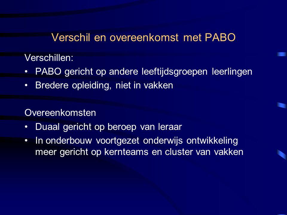 Verschil en overeenkomst met PABO