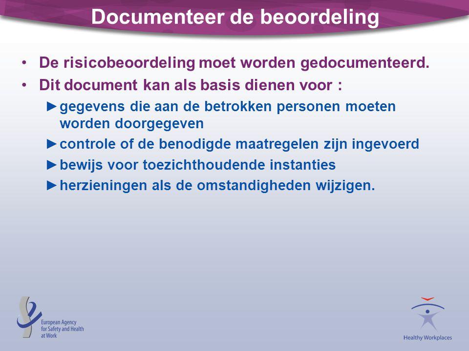 Documenteer de beoordeling